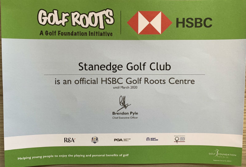 Golf Roots Certificate